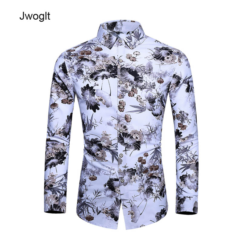 Autumn New Men Hawaiian Long Sleeve Shirts Floral Printed Beach Shirt Big Size 5XL 6XL 7XL