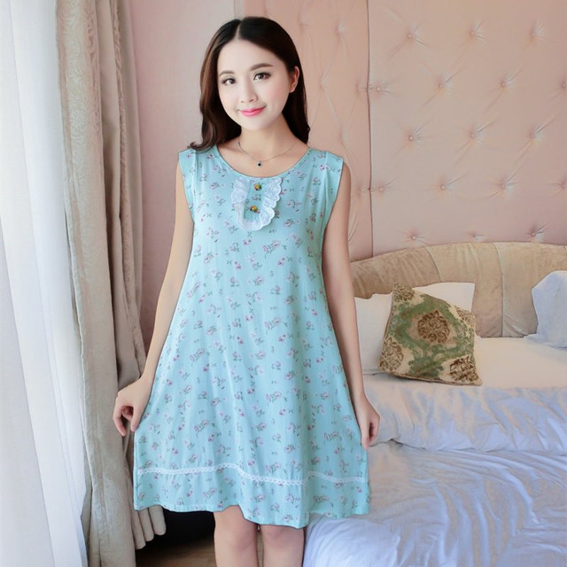 7f398a328ce Latest Women's sexy loose Siamese Skirt Ice silk Nightdress Floral printing  Comfortable Indoor Clothing Home Suit Sleepwear