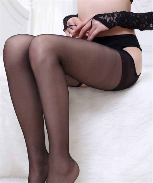Black chicks crotchless pantyhose