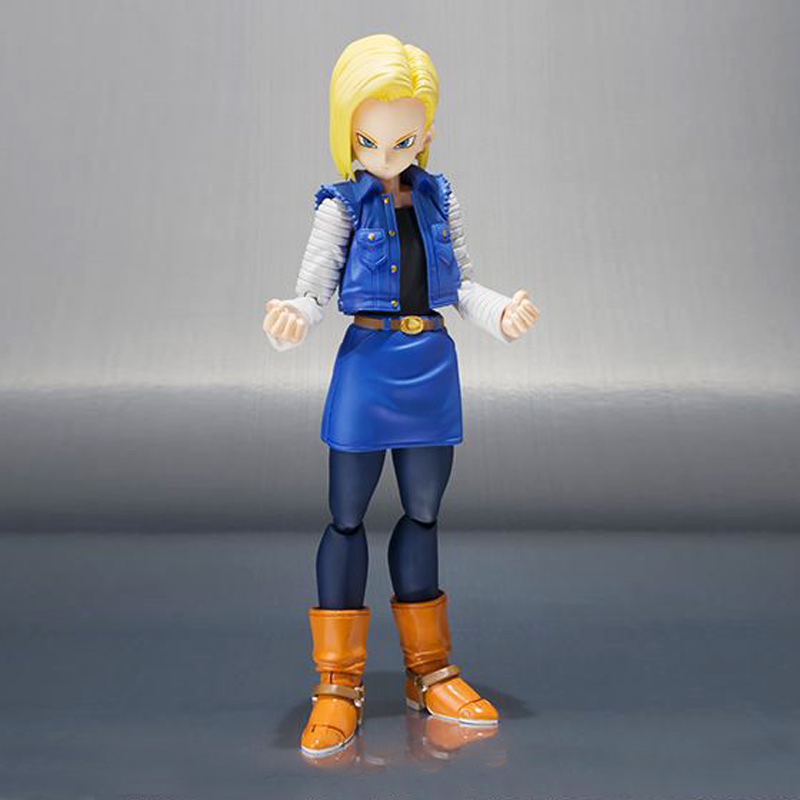 Free Shipping 5 Dragon Ball Z Anime SHF Android 18 Moveable Boxed 13cm PVC Action Figure Collection Model Doll Toys Gift new hot 18cm one piece donquixote doflamingo action figure toys doll collection christmas gift with box minge3