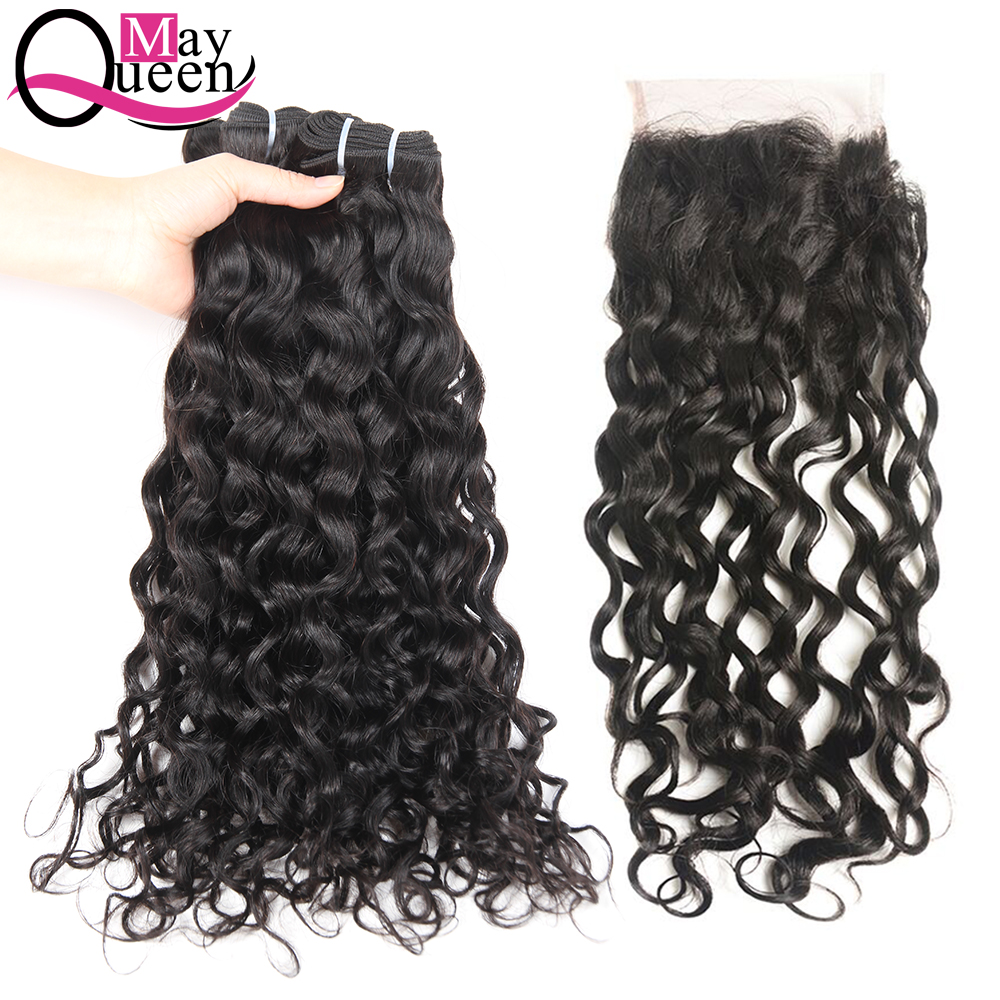 May Queen Hair Human Hair Bundles With Closure Brazilian Hair Weave Water Wave 4*4 Lace Closure Free Part Non Remy Hair Weave