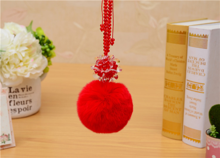 CCOR NEW Rabbit Fur Fluffy keychain Crystal Flower adjustable chain keychain car font b bag b