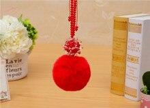 CCOR NEW Rabbit Fur Fluffy keychain Crystal Flower adjustable chain keychain car bag accessories,1pcs,MQ0054