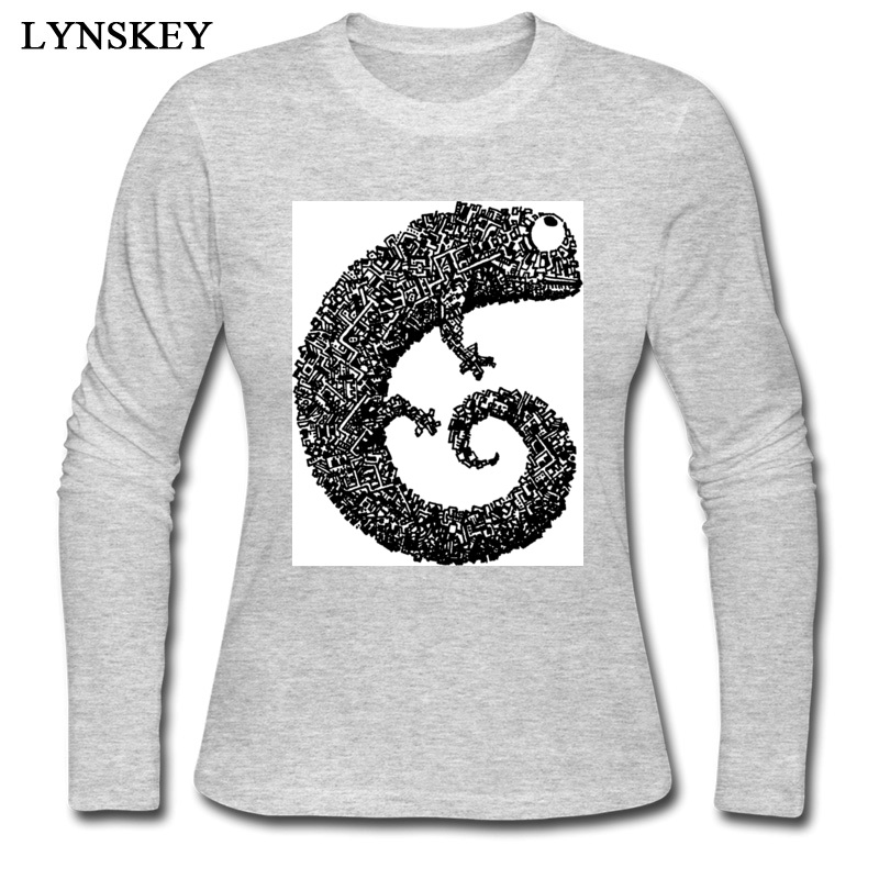 2018 Simple T-Shirt Women 100% Cotton Long Sleeve T Shirt White Gray Color Funny Animal Chameleon Lizard Print Fashion Tshirts