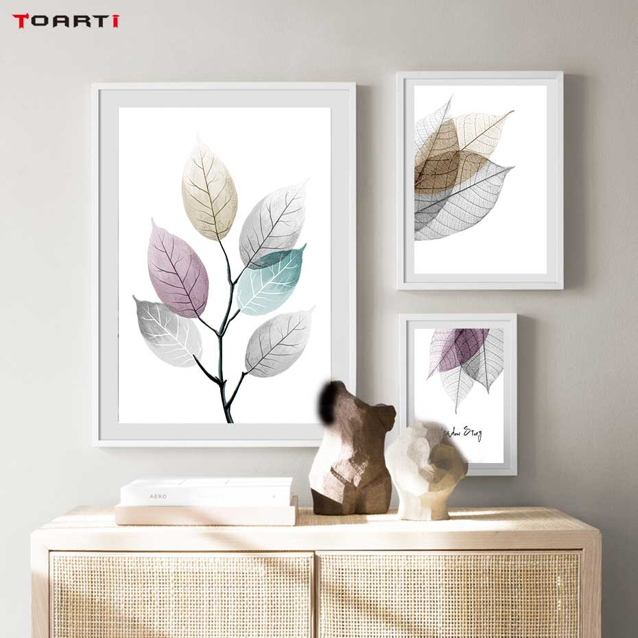 Image 4 - Watercolor Abstract Leaf Canvas Paintings On The Wall Nordic Posters Prints Minimalist Wall Art Pictures for Living Room Bedroom-in Painting & Calligraphy from Home & Garden