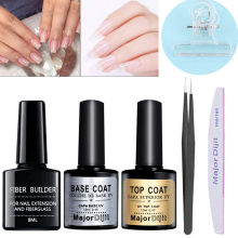 8ml Fiber Builder Gel 2 pcs Base Coat Top Coat 10Pcs Nail Fiber Glass Nail Clip Kit Nail Extension UV Lamp Varnish Poly Gel #b(China)