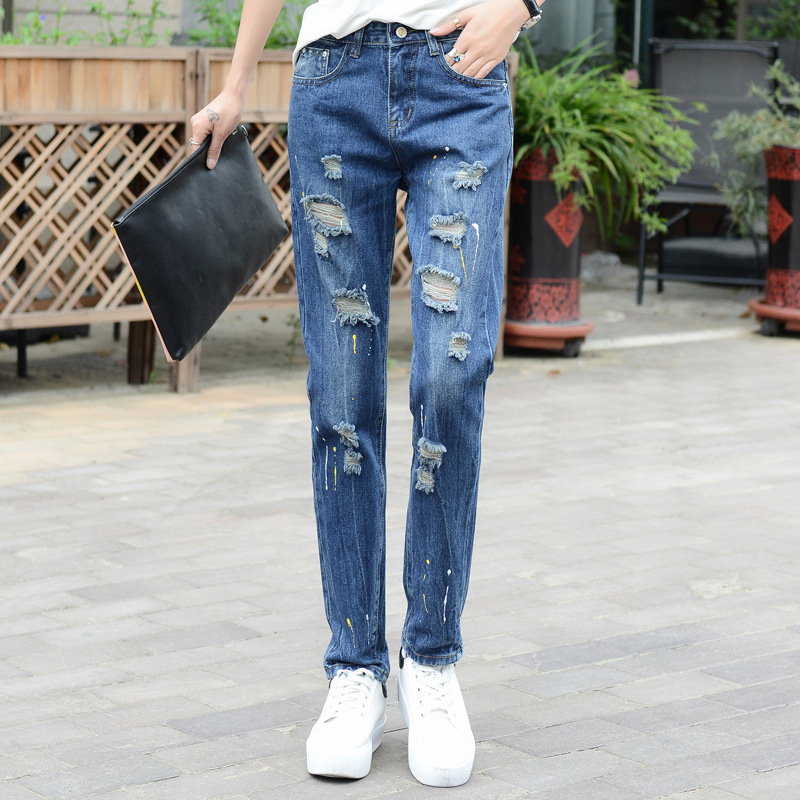 Spring Wome loose ripped jeans Lady's boyfriend jeans for women Female casual High Waist  Painted hole denim pants Long Trousers casual vintage ripped denim jumpsuits suspender trousers high waist ladies winter long pants blue boyfriend jeans for women