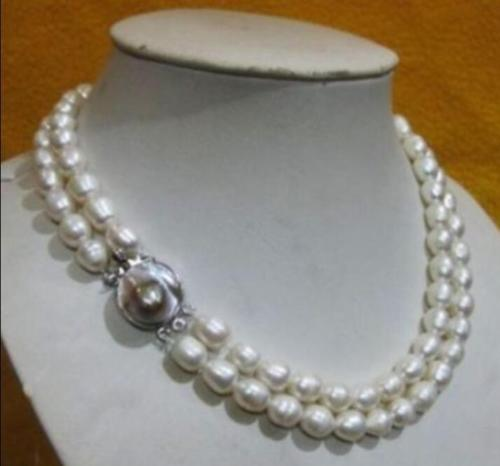 10x10 jewerly free shipping  CHARMING NATURAL 2 row 10-13MM AKOYA REAL WHITE BAROQUE PEARL NECKLACE10x10 jewerly free shipping  CHARMING NATURAL 2 row 10-13MM AKOYA REAL WHITE BAROQUE PEARL NECKLACE