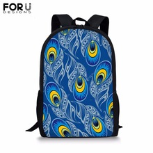 FORUDESIGNS Customize 16 inch Backpack for Teenager Girls Boy Peacock Tail Print School Bag Childrens BookBag Daypack Mochila