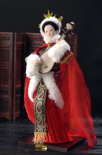 Exquis Broider Poupée Chinois Vieux style figurine Chine fille avec fleur statue-Wangzhaojun No 2