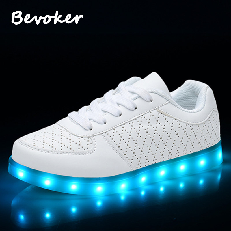 Bevoker Men Casual 7 Colors Lighted Light Up Shoes USB Charging Luminous Glowing Led Simulation Sole