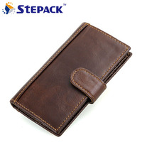 New Arrival Men Wallets Genuine Leather 3 Fold Antitheft RFID Wallet Leather Long Purse Bifold Hasp