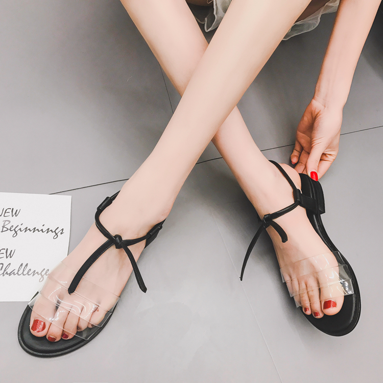 2017 Summer Women's Flats Sandals Transparent Peep-toe Lace-up Gladiator Sandals Fashion Shoes Woman Sandalias lanshulan wedges gladiator sandals 2017 summer peep toe platform slippers casual glitters shoes woman slip on flats creepers