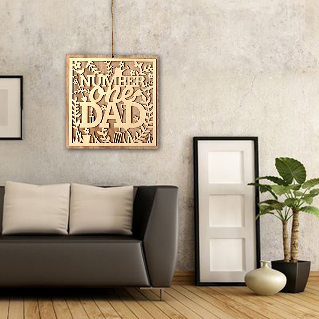 Sign Board Number One Dad Wooden Hanging Board Fathers Day Plank Hanging Hollow Out Plaque Wall Decor Craft Pendant
