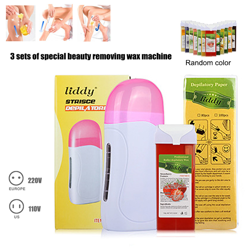 Hot Hair Removal Machine Set 3-In-1 Epilator Depilatory Wax And Papers For Face Neck Arm Leg Body Hair Remove Beauty Tools F