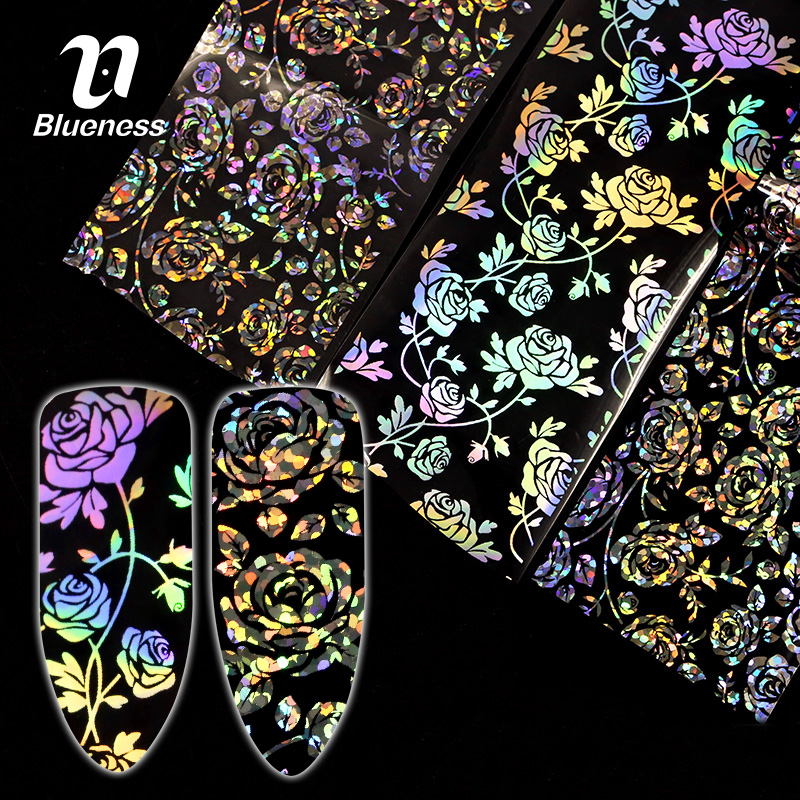 Blueness 4*100cm/Roll 3D Holographic Rose Flowers Design Laser Nails Foil Stickers Manicure DIY Nails Art Decorations Decals 1pcs water nail art transfer nail sticker water decals beauty flowers nail design manicure stickers for nails decorations tools