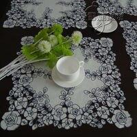Rustico stoffa ricamata tavolo da pranzo tovaglia tovaglietta tovagliolo vassoio panno telo ritaglio rosa blu