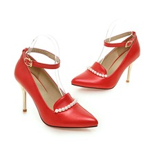 Ankle Strap Beading Pearls Ladies Shoes Iron Heels Sexy Bridal Shoes Red Bottom Pointed Toes Wedding Shoes White/Red 7108