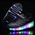 2017 New Arrivals Children Fashion LED Roller Skate Sneakers Kid Cool Boy Roller Shoes with Single Wheel or Dual Wheels