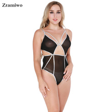 Zramiwo Womens Glitter Bodysuit One Piece Sexy Lingerie Cut Out Teddy Lingerie Strappy Jumpsuit Romper