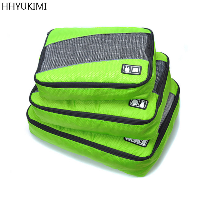 HHYUKIMI 3 Pcs Set Polyester Unisex Packing Cubes Clothes Lightweight Luggage Travel Bags For Shirts Waterproof