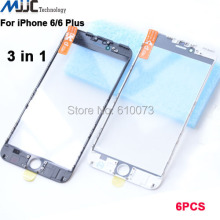 6PCS AAA+ 3 in 1 Front Outer Glass with Frame OCA Film Pre-installed Cold Press Replacement for iPhone 6/6 plus Touch Panel