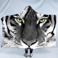 Creative Fantastic Tiger Wearable Hooded Blanket Mandala Dreamcatcher Sherpa Fleece Woman Throw Blanket Microfiber Blankets