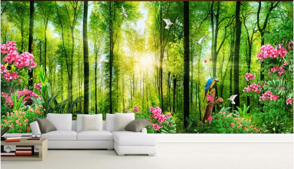 Custom Mural Photo 3d Wallpaper Trees Green Landscape