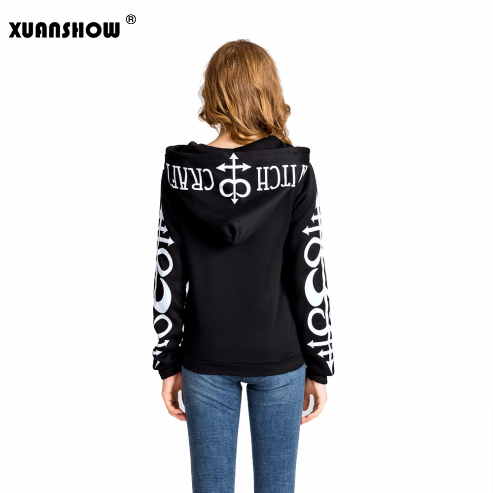 Xuanshow Women Hoodies Clothes Gothic Punk Moon Letters Printed Sweatshirts Winter Autumn Long Sleeve Jacket Zipper Coat #2