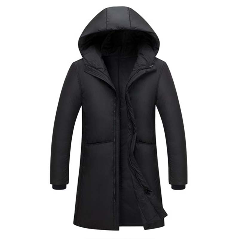 2018 Men Winter Outdoors Long trench Coat Down Jacket Thickening Hooded black gray Parka Coats Free Shipping big size to XXXL