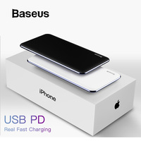 Baseus Thin Power Bank 10000mAh For iPhone X Xs XR Portable Mobile Phone Charger with Type C PD Two way Fast Charging Powerbank