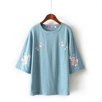 W 1 S маленькая свежая новая Корейская женская вышивка футболка с короткими рукавами 2019 Весна и лето свободная дикая QDa38 Вишня