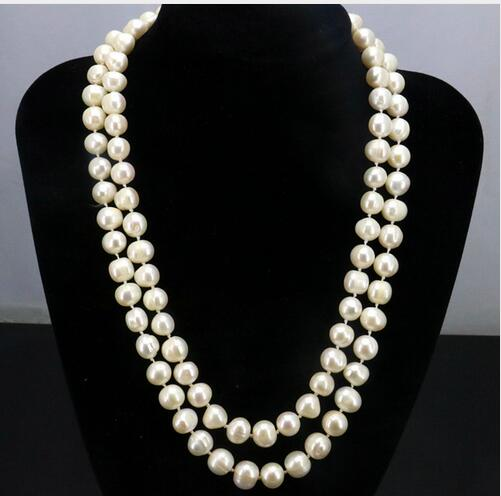 Women Gift Freshwater New Selling!2 Row 9-10mm White freshwater pearl necklace 17-18 inches Female friend fashion jewelry gift d