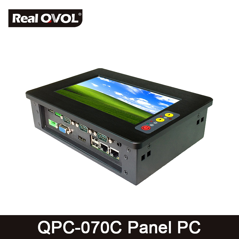 QPC-070C Panel touch PC industrial computer fanless Atom N2800 1.86GHz CPU, 32GB SSD with VGA HDMI port & 4 Serial Port,2 LAN 17 fanless industrial panel pc capacitive touchscreen core i3 cpu 2g ddr3 320gb hdd 4 rs232 4 usb 1 glan wifi optional