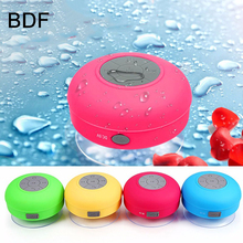 BDF New Portable Wireless Shower Waterproof Bluetooth Speaker Subwoofer Car Handfree Call Music Suction Mic For mobile Phone