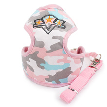 Mesh Padded Small Dog Pet Cat Harness Adjustable Camouflage Vest Leads Kitten Nylon Leash for Walking Training Cat Leash Harness