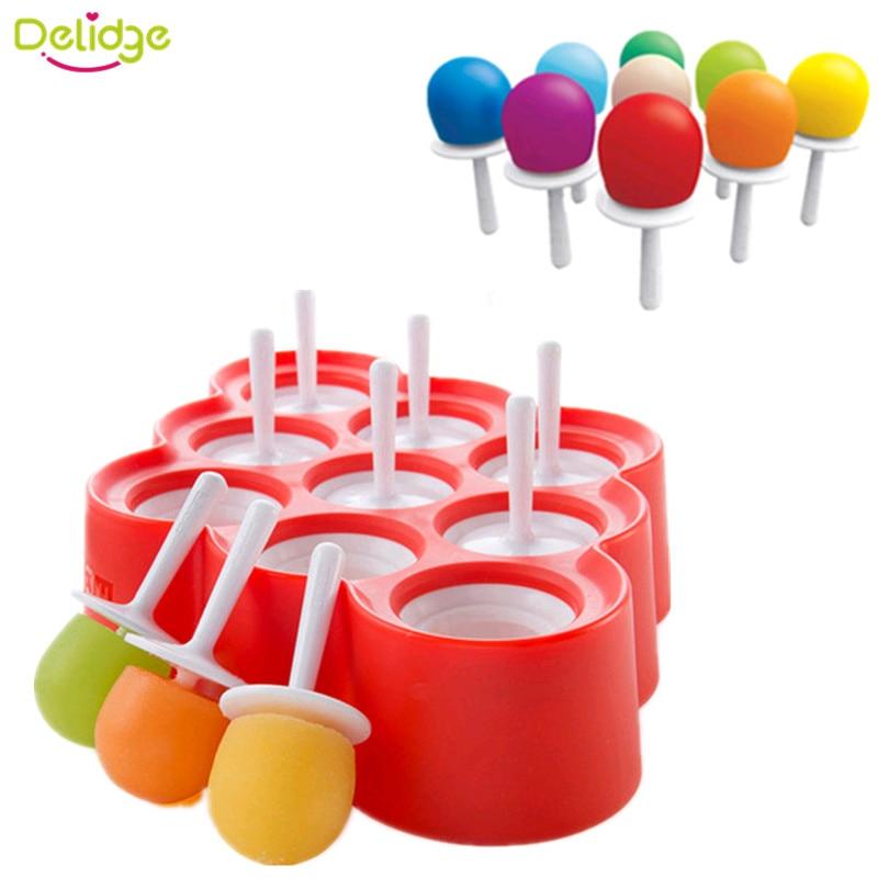silicone succo di frutta latte DIY Popsicle Mold vassoio da cucina Red 1/pz 9/foro rotondo ghiaccioli Mold food-grade plastica