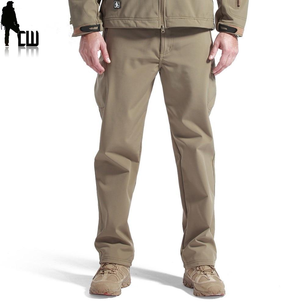 Shark Skin în aer liber Tactică termică Camouflag și pantaloni de drumeție pentru bărbați din material textil din lână softshell, impermeabil instant și rezistent la vânt