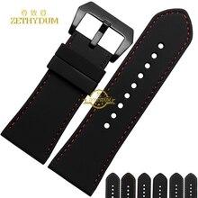 Aumento de la anchura de banda de Caucho De Silicona pulsera relojes de pulsera correa de reloj de correa de reloj de pulsera 30mm negro costuras de color Rojo cinturón
