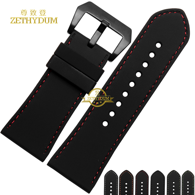 Increase width Silicone Rubber bracelet wristwatches band watch strap watchband wristband 30mm black color Red stitching belt