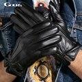 Gours 2016 Autumn and Winter Men Genuine Leather Gloves Fashion New Brand Warm Black Gloves Goatskin Three Lines Mittens GSM019