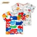 Coche de dibujos animados de Estilo Bebé Camiseta Del Verano 2016 de La Nueva Manera Ropa de los muchachos Del O-cuello de Manga Corta Camisetas de Los Muchachos Niño Niño ropa