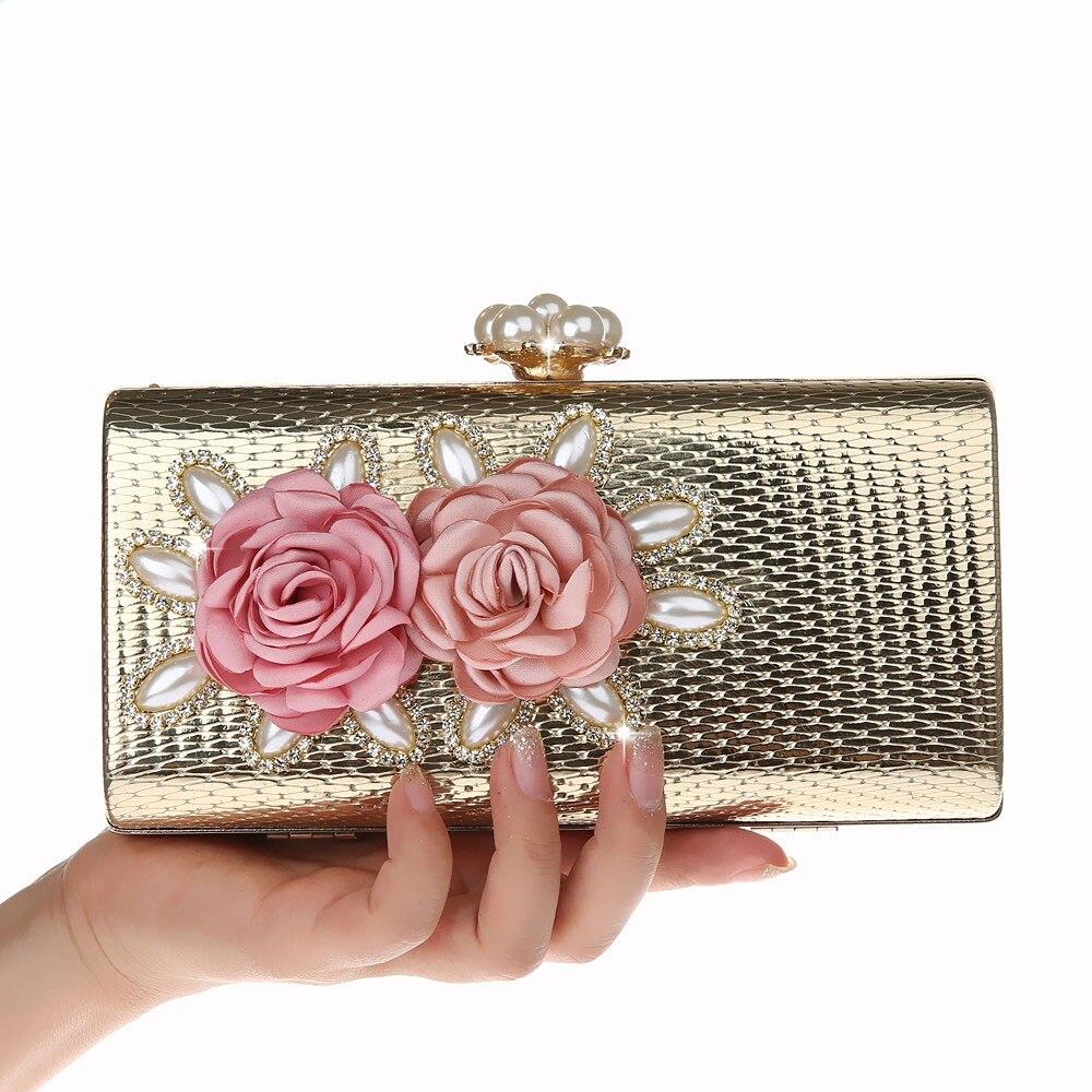 2018 Luxus Mode Blume Frauen Abend Tasche Perle Diamanten Perlen Handgemachte Dame Tag Kupplungen Hochzeit Handtasche Geldbörse Abend Taschen Hohe QualitäT Und Preiswert