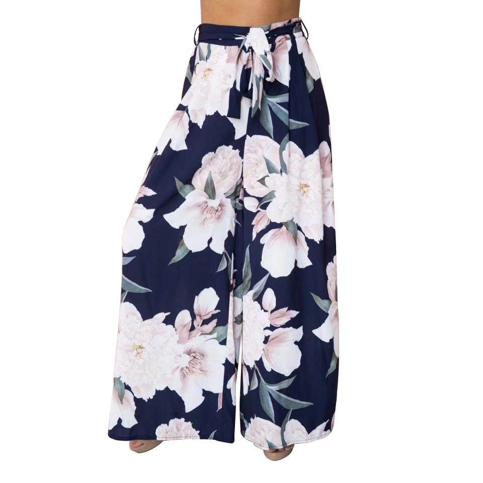 Women Ladies High Waist Spodnie Floral Print Waist Belt Wide Leg Trousers Elegant Boho Fashion Loose Women Long Pants