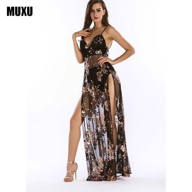 MUXU sexy summer BLACK long gold sequin dress glitter vestidos de verano  backless long dresses womens 402f02b84f31