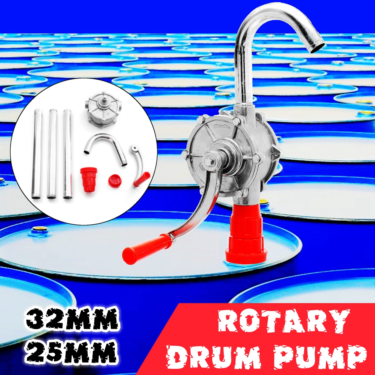 22L/min Heavy   Drum Rotary Hand Pump New Oil Fuel Barrel