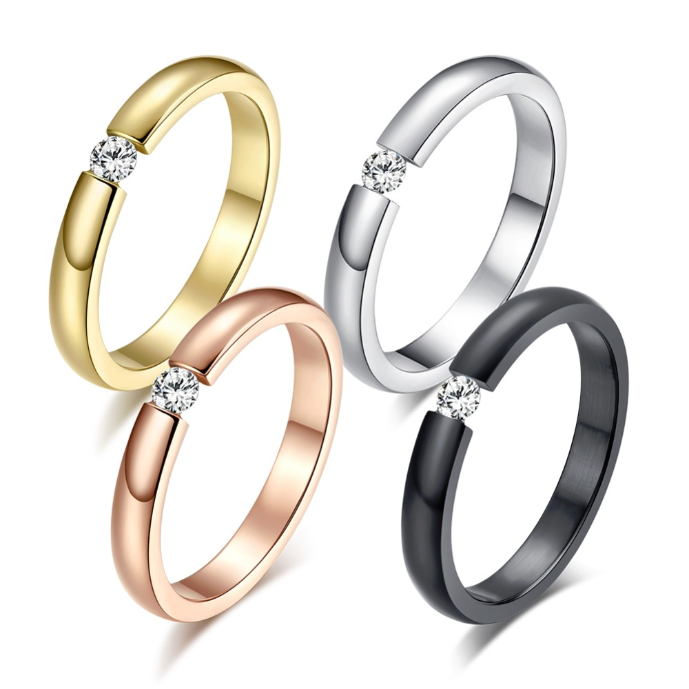 Engagement Ring for Women Stainless Steel Silver Color Gold Color Finger Girl Gift US Size 5 6 7 8 9 10 1