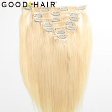 "613# Blonde Clip in Human Hair Extensions For Black Women 14"" 18"" Brazilian Remy Straight Hair Clip Ins 7Pcs/Set GOOD HAIR(China)"