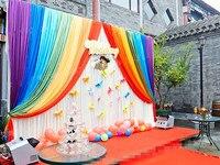 Одежда из Ice Silk для вечерние фон стены для маленьких детей празднований дня рождения фон Шторы Радуга Свадебные гирлянды фон Шторы