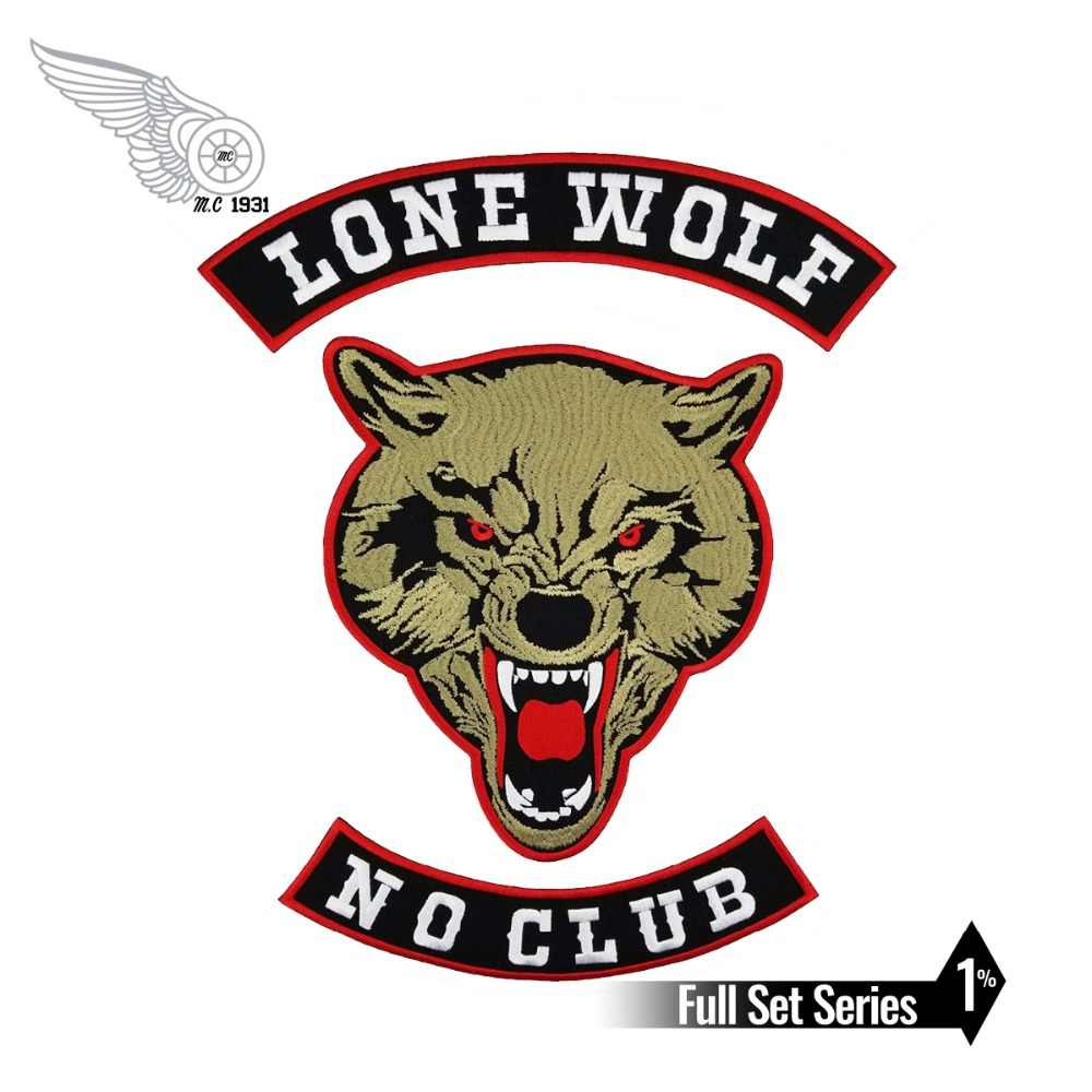 Lone Wolf Biker Patches No Club  for Vest Free Rider Motorcycle Patch Embroidered Jackets Custom Back Emblem Rock and Punk Wolf